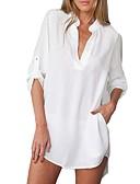 povoljno Hlače za dječake-Bluza Žene Jednobojni Kragna košulje Crn