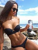 halpa Bikinis-Naisten Perus Musta Rubiini Viini Bandeau Pikkutuhmat Bikini Uima-asut - Yhtenäinen Color Block Avoin selkä S M L Musta