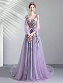 preiswerte Abendkleider-A-Linie Tiefer Ausschnitt Pinsel Schleppe Tüll Kleid mit Paillette / Applikationen durch LAN TING Express