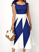 hesapli Print Dresses-Kadın's Büyük Bedenler Dışarı Çıkma A Şekilli Elbise - Zıt Renkli Kare Yaka Midi Yüksek Bel