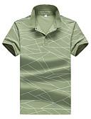 baratos Pólos Masculinas-Homens Polo Geométrica / Houndstooth Algodão Colarinho de Camisa Delgado Branco