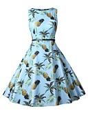 hesapli Kadın Elbiseleri-Kadın's Vintage Temel A Şekilli Elbise - Meyve, Desen Büzgülü Diz-boyu
