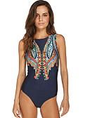ieftine One-piece swimsuits-Pentru femei Bleumarin O Piesă Costume de Baie - Geometric M L XL Bleumarin