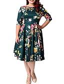 tanie Sukienki-Damskie Elegancja Linia A Sukienka - Kwiaty, Nadruk Do kolan