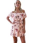 baratos Vestidos para Madrinhas-Mulheres Básico Boho balanço Vestido - Estampado Acima do Joelho