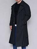 hesapli Erkek Ceketleri ve Kabanları-Erkek Günlük Uzun Trençkot, Solid Çentik Yaka Uzun Kollu Polyester Siyah / Gri / Haki XL / XXL / XXXL