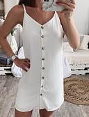 hesapli Kadın Elbiseleri-Kadın's Kumsal Seksi İnce Kombinezon Elbise - Solid, Şifon Buton Askılı Diz üstü