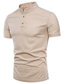رخيصةأون خصم يصل إلى 90%-رجالي كتان قميص قياس كبير ياقة مع زر سفلي لون سادة رمادي غامق XXXL