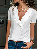 cheap Women's Hats-Women's Plus Size Shirt - Solid Colored Fashion V Neck Black XXXL / Spring / Summer / Fall / Winter