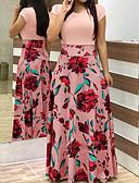 abordables Vestidos Maxi-Mujer Básico Corte Swing Vestido - Retazos, Geométrico Maxi