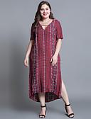 hesapli Büyük Beden Elbiseleri-Kadın's Büyük Bedenler Pamuklu Salaş Kombinezon Elbise V Yaka Midi