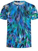 Χαμηλού Κόστους Ανδρικά μπλουζάκια και φανελάκια-Ανδρικά Μεγάλα Μεγέθη T-shirt Βαμβάκι 3D Στρογγυλή Λαιμόκοψη Στάμπα Θαλασσί XXXXL