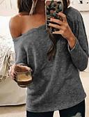 hesapli Gömlek-Kadın's Düşük Omuz İnce - Gömlek Tek Omuz, Solid Sarı M / Bahar / Yaz / Sonbahar / Kış