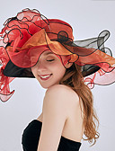 cheap Cocktail Dresses-Women's Party Cute Chiffon Lace Floppy Hat Sun Hat-Floral All Seasons Red Blushing Pink Fuchsia