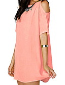 hesapli Kadın Elbiseleri-Kadın's Temel Şifon Elbise - Solid Diz üstü