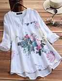 hesapli Tişört-Kadın's V Yaka Salaş - Gömlek Desen, Çiçekli Çin Stili / Zarif Büyük Bedenler Beyaz