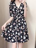 hesapli Mini Elbiseler-Kadın's Temel Kılıf Elbise - Çiçekli Mini