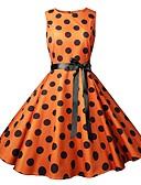 halpa Vintage-kuningatar-Naisten Vintage Tyylikäs A-linja Tuppi Swing Mekko - Polka Dot Color Block, Rusetti Painettu Kurenauha Polvipituinen