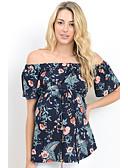 cheap Women-Women's Shirt - Floral Lace up / Print Blue L