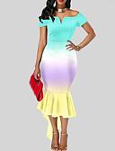 preiswerte Retro-Königin-Damen Grundlegend Hülle Kleid Regenbogen Asymmetrisch