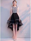 levne Svatební šaty-A-Linie Klenot Asymetrické Organza / Flitry Šaty pro družičky s Vrstvy podle LAN TING Express