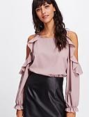 preiswerte Bluse-Damen Solide Bluse Schlank Rosa M