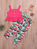 זול סטים של ביגוד לבנות-סט של בגדים כותנה ללא שרוולים גב חשוף / דפוס אחיד / דפוס פעיל / בסיסי בנות ילדים