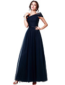 cheap Evening Dresses-A-Line Boat Neck Floor Length Tulle Dress with Sash / Ribbon / Ruched by JUDY&JULIA
