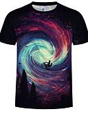levne Pánská tílka-Pánské - Galaxie / 3D Větší velikosti Tričko, Tisk Bavlna Kulatý Černá XXXXL
