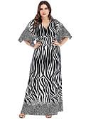 رخيصةأون بلوزات نسائية-فستان نسائي A line متموج أساسي بوهو بقع طباعة طويل للأرض مخطط ألوان متناوبة