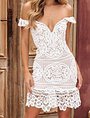 cheap One-piece swimsuits-Women's Sophisticated Elegant Sheath Dress - Solid Colored White M L XL