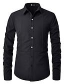 """זול חולצות לגברים-אחיד צוארון עם כפתור בסיסי האיחוד האירופי / ארה""""ב גודל כותנה, חולצה - בגדי ריקוד גברים ניטים שחור / שרוול ארוך"""