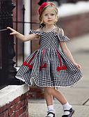 זול שמלות לבנות-שמלה שרוולים קצרים Houndstooth / סרוג בנות ילדים