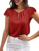 billige Skjorter til damer-Løstsittende Bluse Dame - Ensfarget, Blonde Chic & Moderne Svart / Blonder