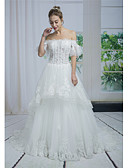 cheap Cocktail Dresses-A-Line Off Shoulder Chapel Train Lace / Tulle Made-To-Measure Wedding Dresses with Beading / Appliques / Lace by ANGELAG