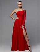 abordables Vestidos de Dama de Honor-Corte en A Un Hombro Hasta el Suelo Raso Evento Formal Vestido con Cuentas / Frontal Abierto por TS Couture®