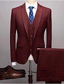 זול חליפות-בורגנדי / כחול נייבי / אפור בהיר פסים גזרה צרה פוליאסטר חליפה - פתוח Single Breasted One-button
