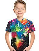זול חולצה-טישירט שרוולים קצרים דפוס דפוס / קשת פעיל / בסיסי בנים ילדים / פעוטות
