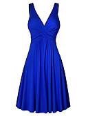 hesapli Günlük Elbiseler-Kadın's Büyük Bedenler Temel Kombinezon Elbise - Solid V Yaka Mini Yüksek Bel