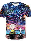 hesapli Erkek Tişörtleri ve Atletleri-Erkek Yuvarlak Yaka Tişört Desen, Galaksi / 3D Temel Büyük Bedenler Gökküşağı XXXXL / Kısa Kollu
