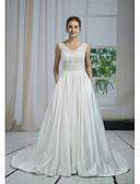 cheap Wedding Dresses-A-Line V Neck Chapel Train Lace / Satin / Tulle Made-To-Measure Wedding Dresses with Beading / Appliques / Lace by ANGELAG