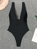 povoljno One-piece swimsuits-Žene Osnovni Crn Obala Na vezanje oko vrata Tanga gaćice Cheeky gaćice Jednodijelno Kupaći kostimi - Jednobojni Otvorena leđa S M L Crn