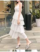 abordables Robes Femme-Femme Midi Mousseline de Soie Robe Blanc Noir M L XL Sans Manches