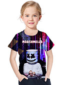 cheap Girls' Tops-Kids Toddler Girls' Active Basic Geometric Print Print Short Sleeve Polyester Spandex Tee Black