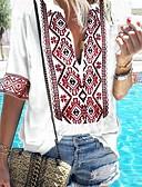 halpa T-paita-Naisten V kaula-aukko Painettu Geometrinen Boheemi T-paita Musta