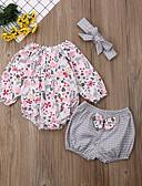 tanie Sukienki dla niemowląt-Dziecko Dla dziewczynek Boho Kwiaty Łuk Długi rękaw Regularny Bawełna Komplet odzieży Biały