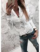 abordables Chemises Femme-Chemise Femme, Lettre Basique Col de Chemise Mince Blanche / Printemps / Automne