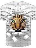 זול חולצה-3D / חיה צווארון עגול רזה מידות גדולות טישרט - בגדי ריקוד גברים דפוס לבן