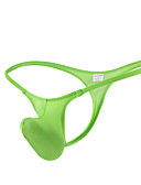abordables Ropa interior para hombre exótica-Hombre Nailon G-string Underwear - Básico 1 Pieza Baja cintura Verde Trébol Gris L XL XXL