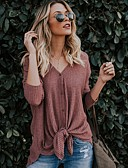 cheap Women's Shirts-Women's Slim Shirt - Solid Colored Dusty Rose V Neck Light Green